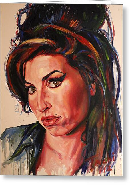 Icons Prints On Canvas Greeting Cards - Amy Greeting Card by Tachi Pintor