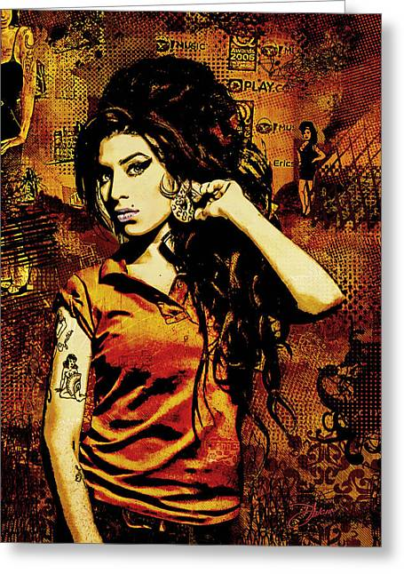 Girl Greeting Cards - Amy Winehouse 24x36 MM Reg Greeting Card by Dancin Artworks