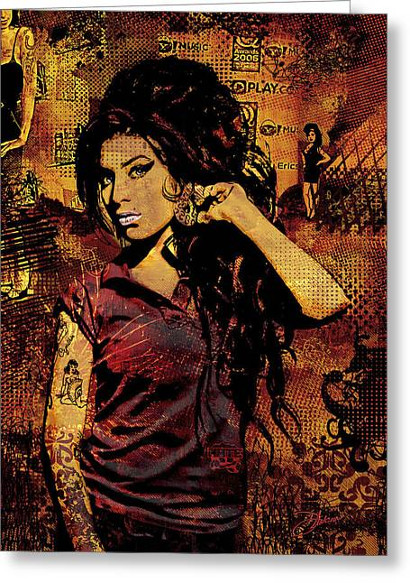Amy Winehouse Greeting Cards - Amy Winehouse 24x36 MM Variant Greeting Card by Dancin Artworks