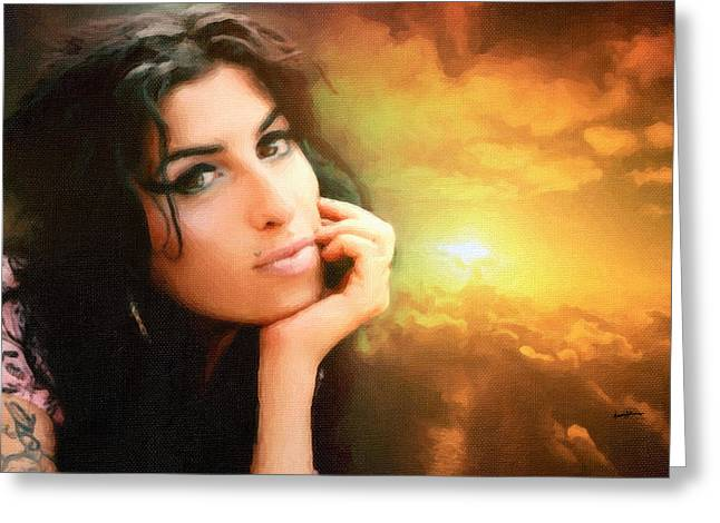 Award Digital Greeting Cards - Amy Winehouse Greeting Card by Anthony Caruso