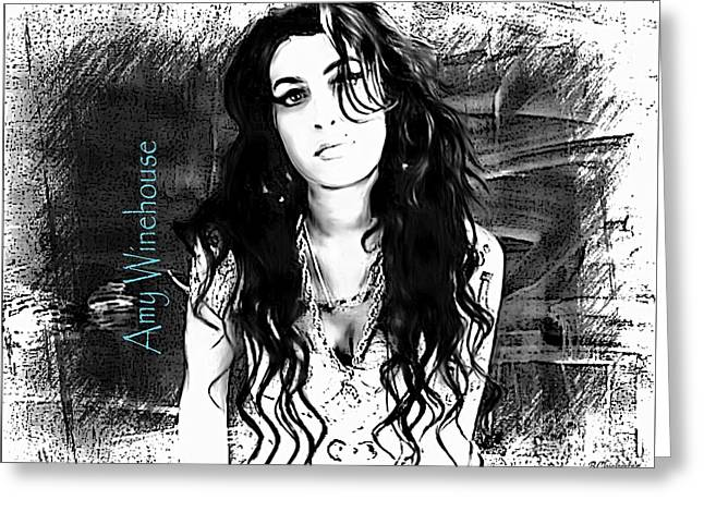 Frank Sinatra Posters Greeting Cards - Amy Winehouse Greeting Card by Barbara Chichester