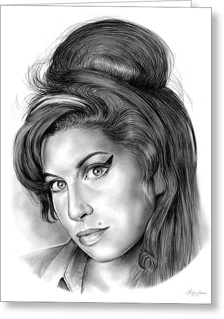 Amy Winehouse Greeting Card by Greg Joens