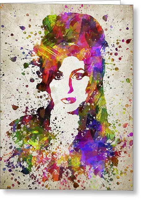 Amy Winehouse In Color Greeting Card by Aged Pixel