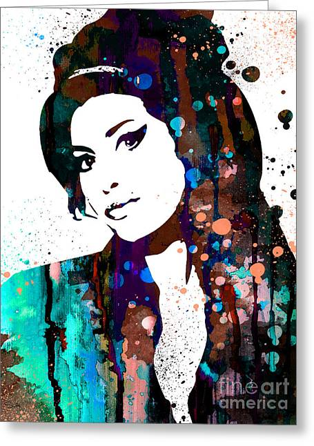 Amy Winehouse Greeting Card by Luke and Slavi