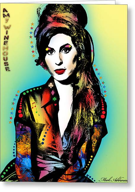 Amy Winehouse Greeting Card by Mark Ashkenazi
