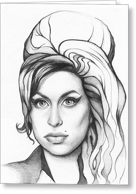 Graphite Drawing Greeting Cards - Amy Winehouse Greeting Card by Olga Shvartsur
