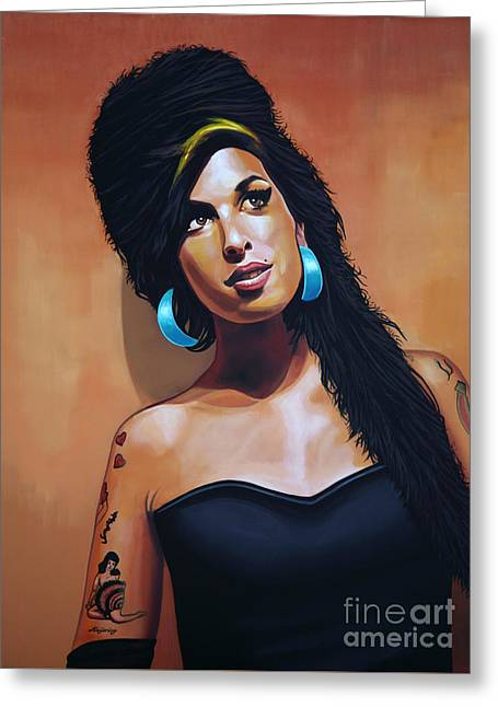 Music Greeting Cards - Amy Winehouse Greeting Card by Paul  Meijering