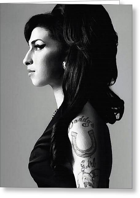 Amy Winehouse Greeting Card by Plamen Petkov