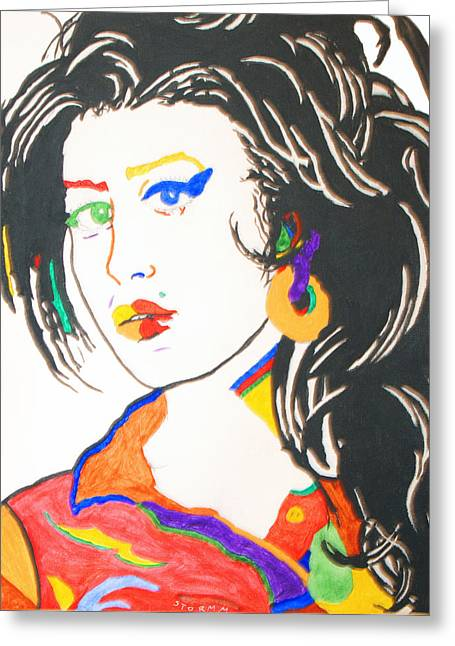 Recently Sold -  - Lioness Greeting Cards - Amy Winehouse Greeting Card by Stormm Bradshaw