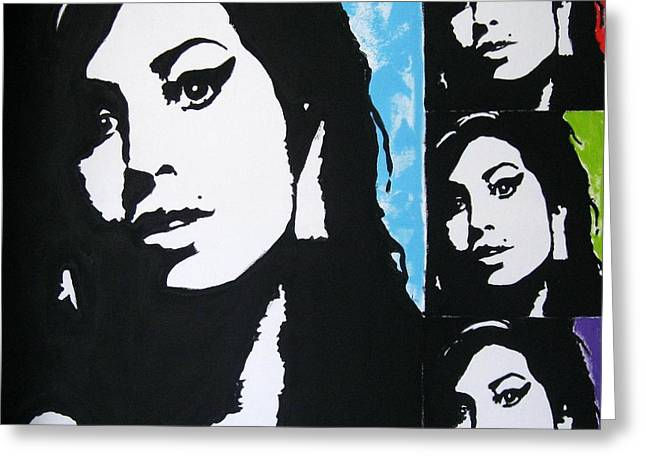 Posters Of Women Mixed Media Greeting Cards - Amy Winehouse Greeting Card by Venus