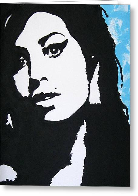 Amy Artwork Greeting Cards - Amy Winehouse Greeting Card by Venus