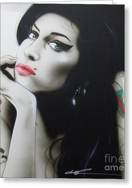 People Paintings Greeting Cards - Amy Your Music will Echo Forever Greeting Card by Christian Chapman Art