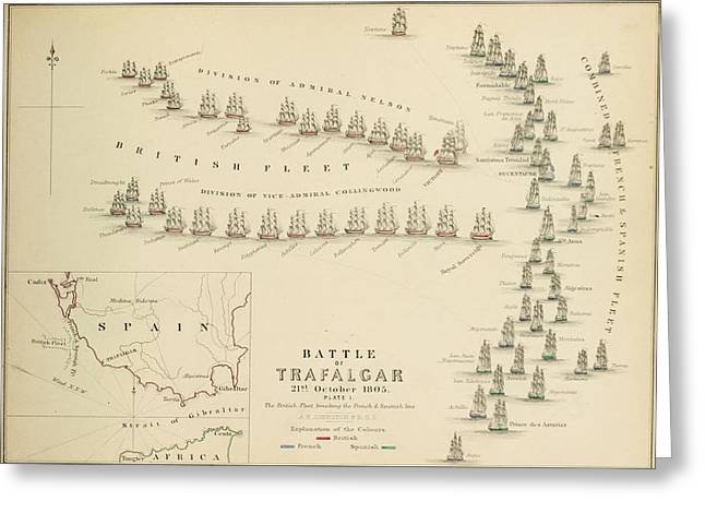 Bravery Drawings Greeting Cards - An 1848 plan of the fleet positions at the Battle of Trafalgar Greeting Card by Celestial Images