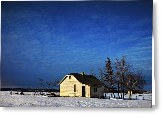 Snow-covered Landscape Greeting Cards - An Abandoned Homestead On A Snow Greeting Card by Steve Nagy