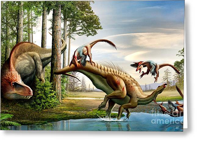 Deinonychus Greeting Cards - An Acrocanthosaurus Observes Greeting Card by Mohamad Haghani