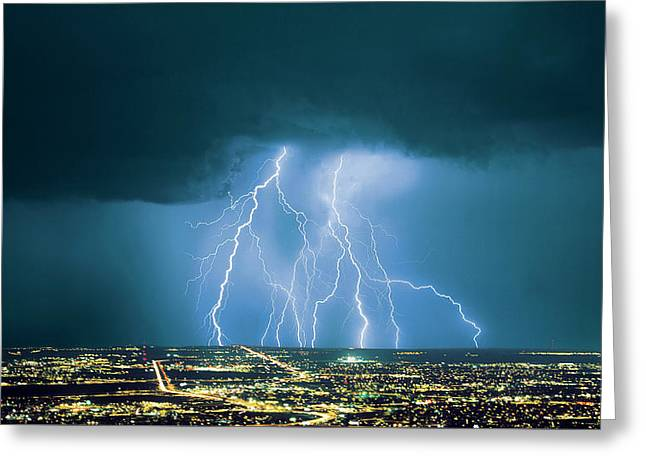 An Active Storm Cell Over City, With 9 Greeting Card by Thomas Wiewandt