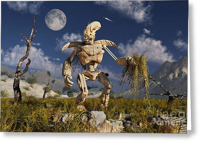 An Advanced Robot On An Exploration Greeting Card by Stocktrek Images