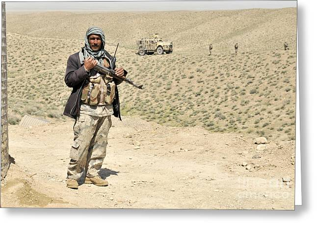 Police Officer Greeting Cards - An Afghan Border Policeman Secures Greeting Card by Stocktrek Images
