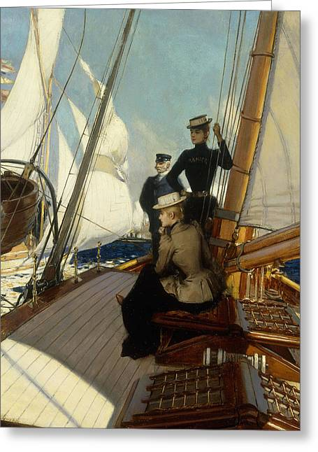 An Afternoon At Sea  Greeting Card by Albert Lynch