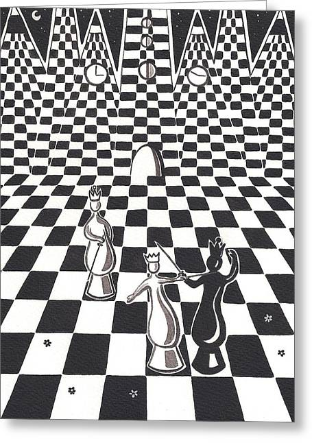 Chess Piece Paintings Greeting Cards - An Afternoon in the Queens Garden Greeting Card by Heidi Bjork