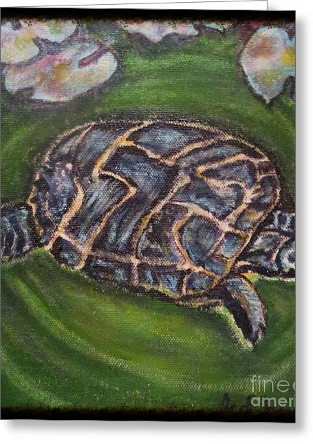 Wine Tapestries - Textiles Greeting Cards - An Agent of Change Turtle Causing Ripples in a Pond Greeting Card by Kimberlee  Baxter