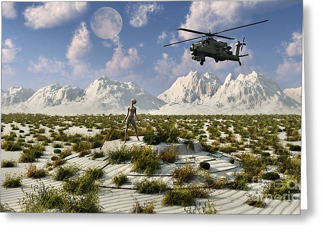 Anthropomorphic Digital Greeting Cards - An Ah-64 Apache Black Ops Helicopter Greeting Card by Mark Stevenson
