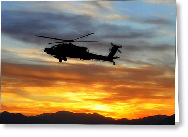 Brigade Greeting Cards - An AH-64 Apache Greeting Card by Paul Fearn
