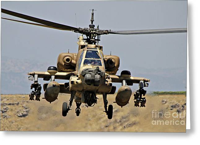 Ah-64 Greeting Cards - An Ah-64a Peten Attack Helicopter Greeting Card by Ofer Zidon