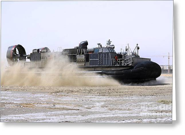 Landing Craft Greeting Cards - An Air-cushion Landing Craft Approaches Greeting Card by Stocktrek Images