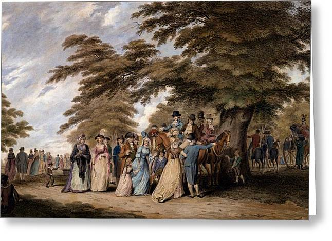 High Society Drawings Greeting Cards - An Airing In Hyde Park, 1796 Greeting Card by Edward Days