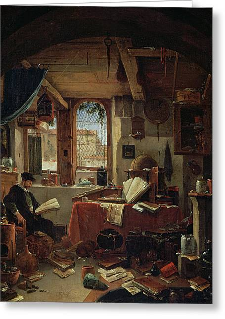 Untidy Greeting Cards - An Alchemist In His Laboratory Oil On Canvas Greeting Card by Thomas Wyck