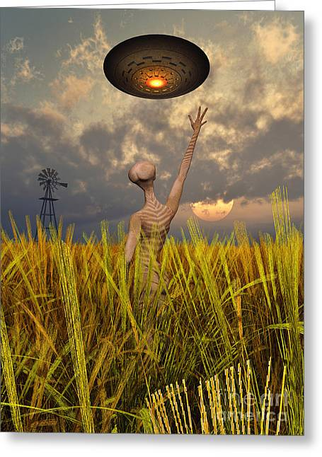 Fantasy Creature Digital Greeting Cards - An Alien Being Directing A Ufo Greeting Card by Mark Stevenson