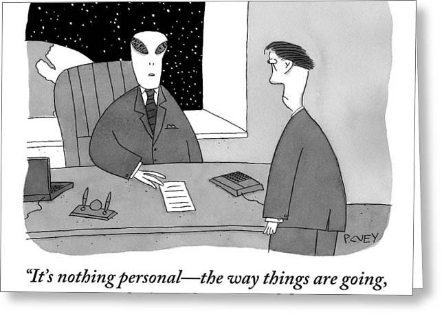 An Alien Businessman Addresses A Man Standing Greeting Card by Peter C. Vey