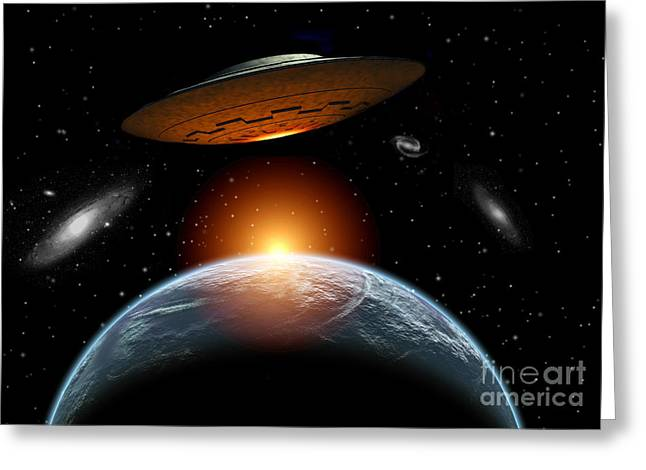 Fantasy World Greeting Cards - An Alien Flying Saucer Visiting Greeting Card by Mark Stevenson
