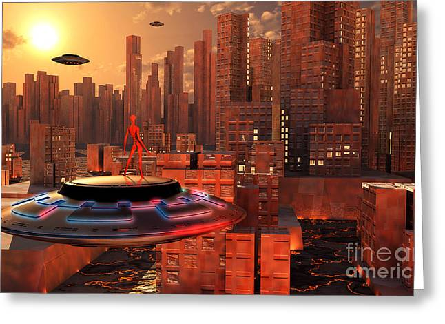 Interstellar Space Digital Art Greeting Cards - An Alien Race Migrating Greeting Card by Mark Stevenson