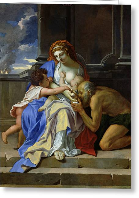 Feeding Greeting Cards - An Allegory Of Charity, C.1642-48 Oil On Canvas Greeting Card by Charles Le Brun
