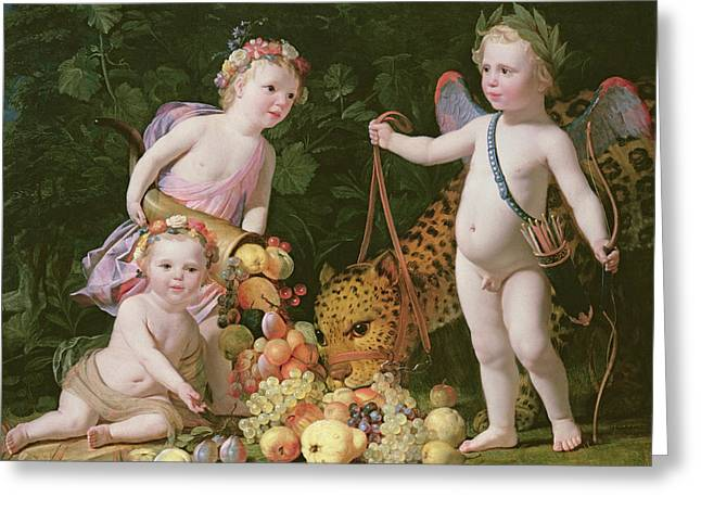 Innocence Greeting Cards - An Allegory Of Peace And Plenty, 1629 Oil On Canvas Greeting Card by Gerrit van Honthorst