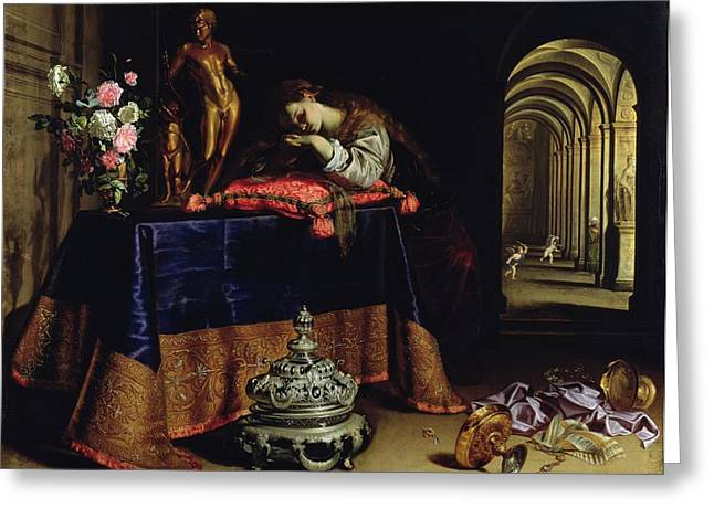 Cushions Greeting Cards - An Allegory Of Repentance Greeting Card by Antonio Pereda y Salgado