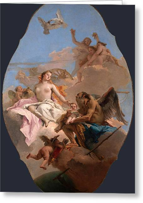 Giovanni Battista Tiepolo Greeting Cards - An Allegory with Venus and Time Greeting Card by Giovanni Battista Tiepolo