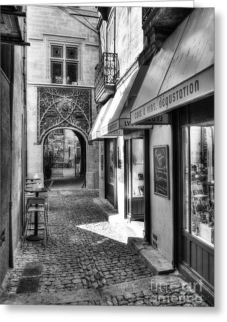 Wine Reflection Art Photographs Greeting Cards - An Alley In Avignon BW Greeting Card by Mel Steinhauer