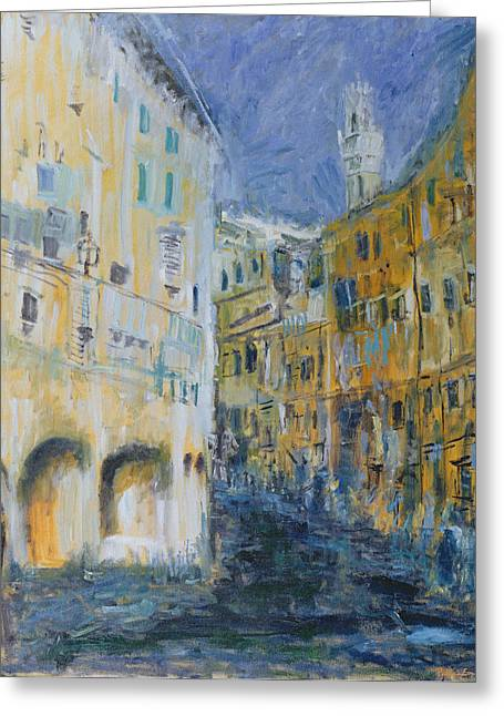Street Scenes Photographs Greeting Cards - An Alleyway In Florence, 1995 Oil On Canvas Greeting Card by Patricia Espir