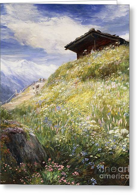 Shack Greeting Cards - An Alpine Meadow Switzerland Greeting Card by John  MacWhirter