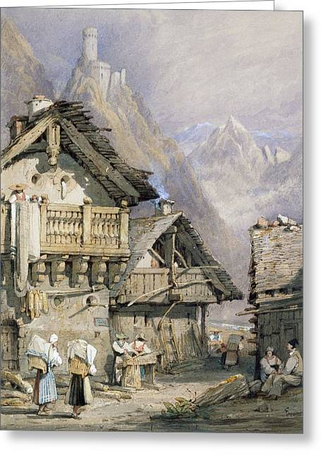 Mountain Drawings Greeting Cards - An Alpine Village Greeting Card by Samuel Prout