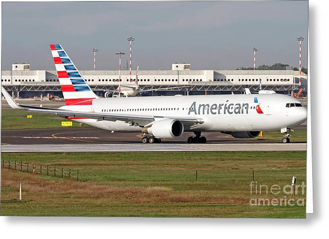 Taxiing Greeting Cards - An American Airlines Boeing 767 Greeting Card by Luca Nicolotti
