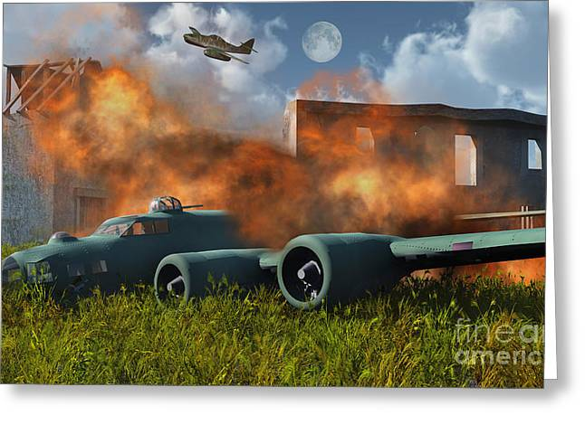 Turbojet Greeting Cards - An American B-17 Flying Fortress Shot Greeting Card by Mark Stevenson