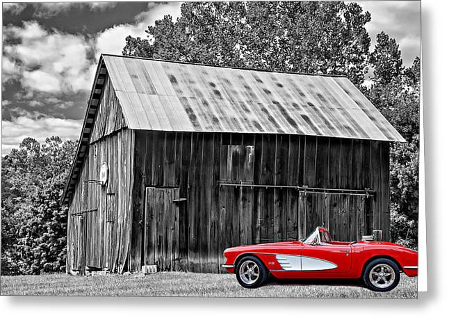 Red Roofed Barn Greeting Cards - An American Barn 3 bw Greeting Card by Steve Harrington
