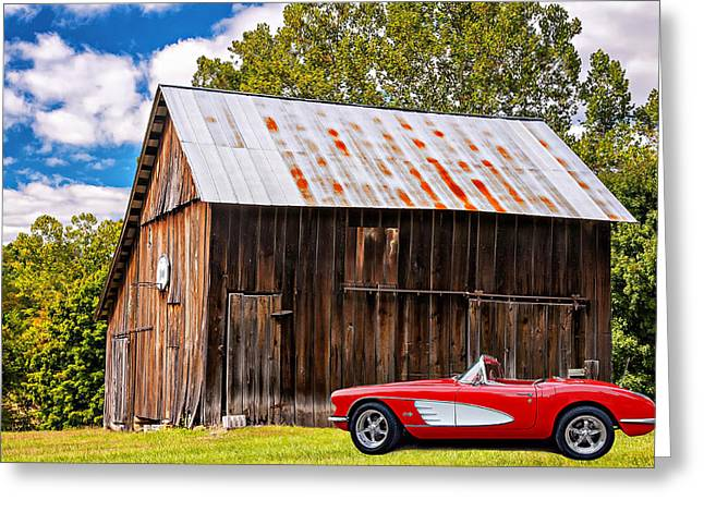 Red Roofed Barn Greeting Cards - An American Barn 3 Greeting Card by Steve Harrington