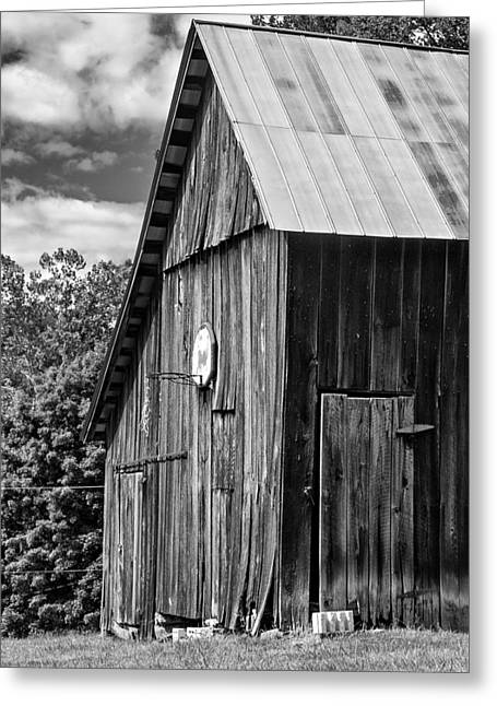 Net Greeting Cards - An American Barn bw Greeting Card by Steve Harrington