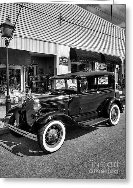 Model A Sedan Greeting Cards - An American Classic BW Greeting Card by Mel Steinhauer