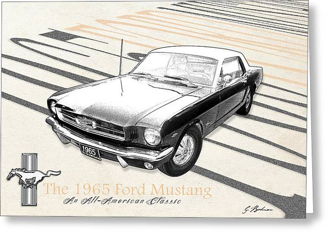 Mustang Art Greeting Cards - An All American Classic Greeting Card by Gary Bodnar